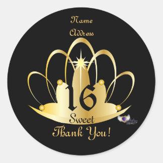 Dulce de oro de la tiara, Pegatina-Personalizar 16 Pegatina Redonda