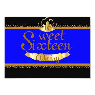 """Dulce de oro dieciséis del cordón de la tiara - invitación 5"""" x 7"""""""