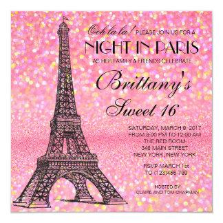 Dulce de París invitación rosada del brillo de 16