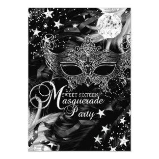 """Dulce de plata 16 de la mascarada de la noche de invitación 5"""" x 7"""""""