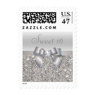 Dulce de plata 16 de las lentejuelas, del arco y sello postal