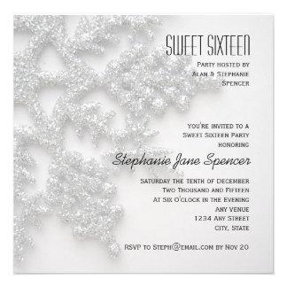 Dulce de plata de los copos de nieve invitación de