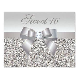 Dulce de plata impreso 16 de las lentejuelas, del invitación 10,8 x 13,9 cm