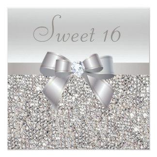 Dulce de plata impreso 16 de las lentejuelas, del invitación 13,3 cm x 13,3cm