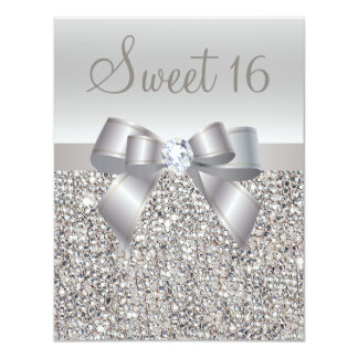 """Dulce de plata impreso 16 de las lentejuelas, del invitación 4.25"""" x 5.5"""""""