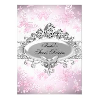 """Dulce de plata rosado dieciséis de la mariposa de invitación 4.5"""" x 6.25"""""""