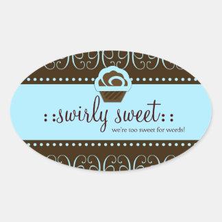 Dulce de Swirly de 311 azules cielos Pegatina Ovalada
