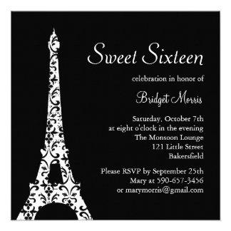 Dulce de Tres París invitación de dieciséis cumple