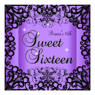 "Dulce del dulce dieciséis púrpura negra de 16 invitación 5.25"" x 5.25"""