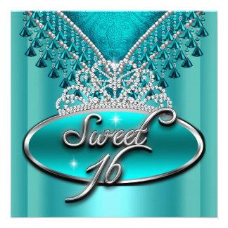 Dulce del dulce dieciséis tiara del azul del trull invitación personalizada