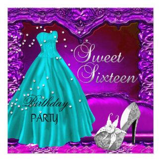 Dulce del dulce dieciséis vestido púrpura del vest invitación