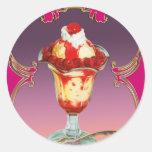 Dulce del helado de la frambuesa del helado pegatina redonda