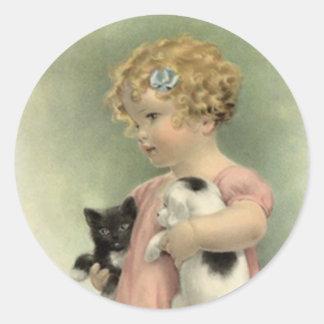 Dulce del perrito del gatito del chica del pegatina redonda