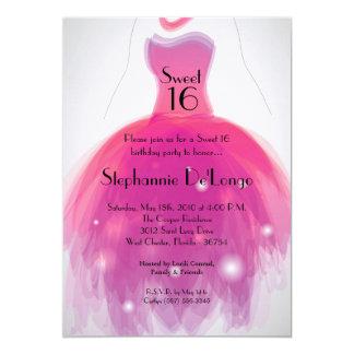 dulce del vestido del rosa 5x7 invitación de 16