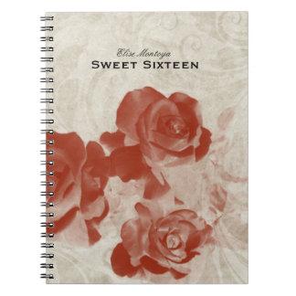 Dulce descolorado elegante dieciséis de los rosas  libreta