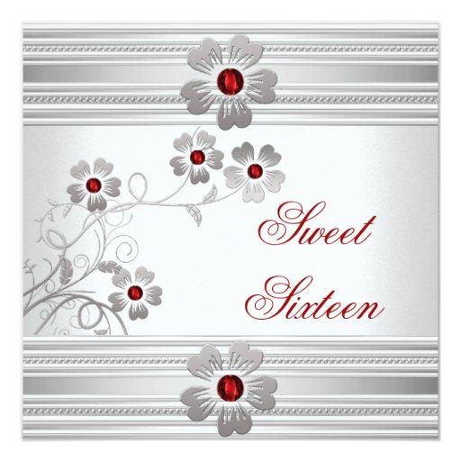 Dulce dieciséis 16 flores blancas rojas de la invitación 13,3 cm x 13,3cm