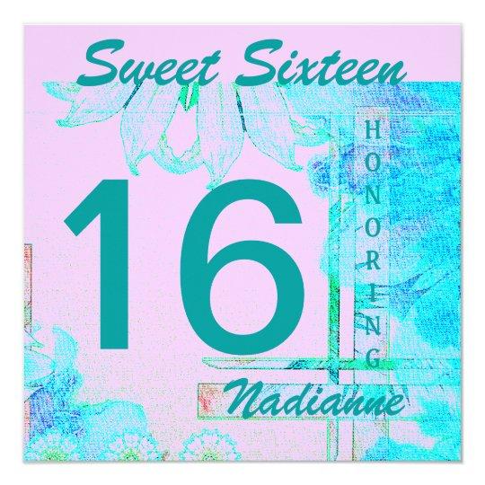 "Dulce dieciséis Brezze Invitation-Cust. Invitación 5.25"" X 5.25"""