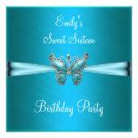 Dulce dieciséis cumpleaños azul de la mariposa de  anuncio personalizado