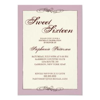 Dulce dieciséis de la elegancia de la escritura en invitación 12,7 x 17,8 cm