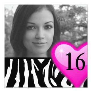 """dulce dieciséis de la foto de la cebra invitación 5.25"""" x 5.25"""""""