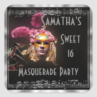 Dulce dieciséis de la mascarada pegatina cuadradas personalizada