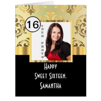 Dulce dieciséis de la plantilla de la foto del tarjeta de felicitación grande