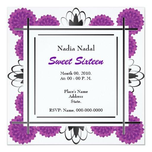 """Dulce dieciséis de los claveles de la púrpura real invitación 5.25"""" x 5.25"""""""