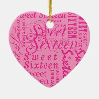 Dulce dieciséis adorno de cerámica en forma de corazón
