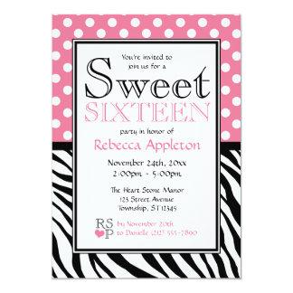 Dulce dieciséis del rosa y del estampado de zebra invitación