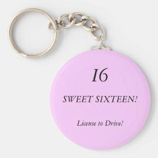¡DULCE DIECISÉIS! ¡, I6, licencia de conducir! Llavero Redondo Tipo Pin