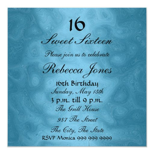 Dulce dieciséis invitación de 16 azules