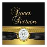 Dulce dieciséis oro de la plata del diamante de 16 invitación 13,3 cm x 13,3cm