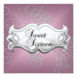Dulce dieciséis plata rosada elegante de 16 invitación 13,3 cm x 13,3cm