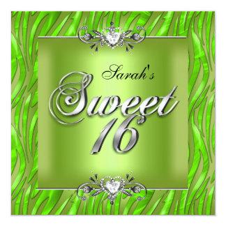 Dulce dieciséis verde lima de la cebra de 16 comunicados