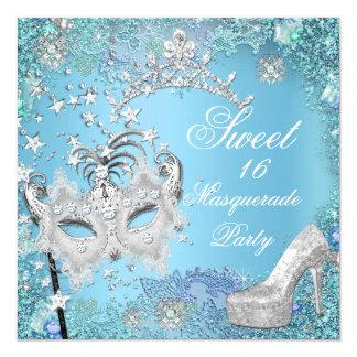 """Dulce dieciséis zapato azul de la tiara del fiesta invitación 5.25"""" x 5.25"""""""