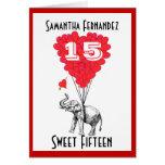 Dulce divertido quince del elefante felicitacion