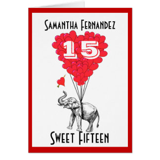 Dulce divertido quince del elefante tarjeta pequeña