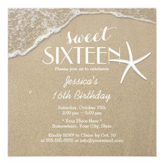 """Dulce elegante dieciséis de la playa y de las invitación 5.25"""" x 5.25"""""""