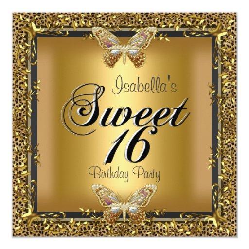 """Dulce elegante dieciséis mariposa del oro de 16 invitación 5.25"""" x 5.25"""""""