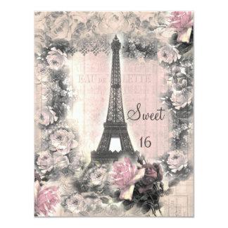 """Dulce elegante lamentable 16 de la torre Eiffel y Invitación 4.25"""" X 5.5"""""""