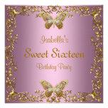 Dulce elegante mariposa rosada del oro de dieciséi comunicados