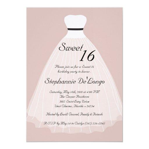 """dulce escarpado del vestido del moreno 5x7 invitación 5"""" x 7"""""""