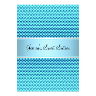 Dulce fiesta azul atractivo del brillo de 16 cumpl invitacion personalizada