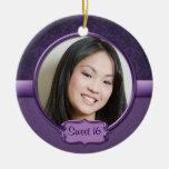Dulce floral 16 del brocado púrpura del Dos-Tono d Ornamento De Navidad