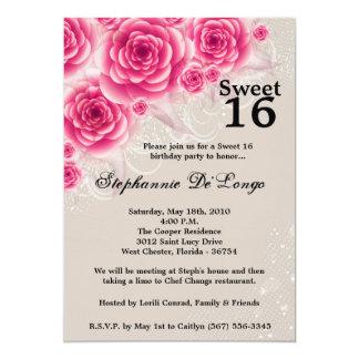 dulce floral de los rosas rosados 5x7 invitación