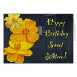 Dulce floral dieciséis del cumpleaños del cosmos tarjeta