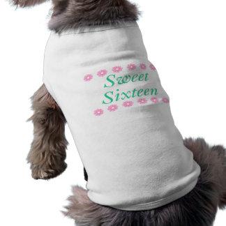 Dulce floral dieciséis regalos de cumpleaños playera sin mangas para perro