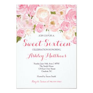 Dulce floral rosado invitación de dieciséis