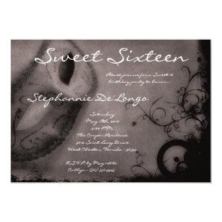 dulce gris de la mascarada 5x7 invitación de 16