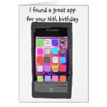 Dulce humor del App del teléfono de 16 cumpleaños Tarjetas